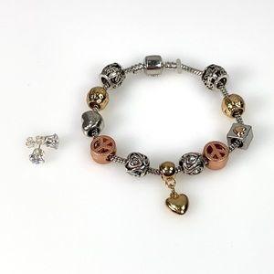 Swarovski Heart Charm Bracelet W/2.00CT Stud Earng